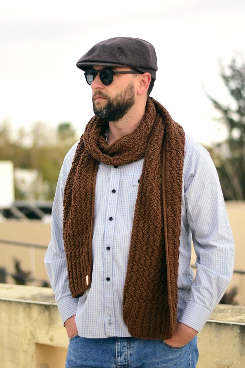 Easy knit scarf pattern Unisex knitted scarf pattern ...