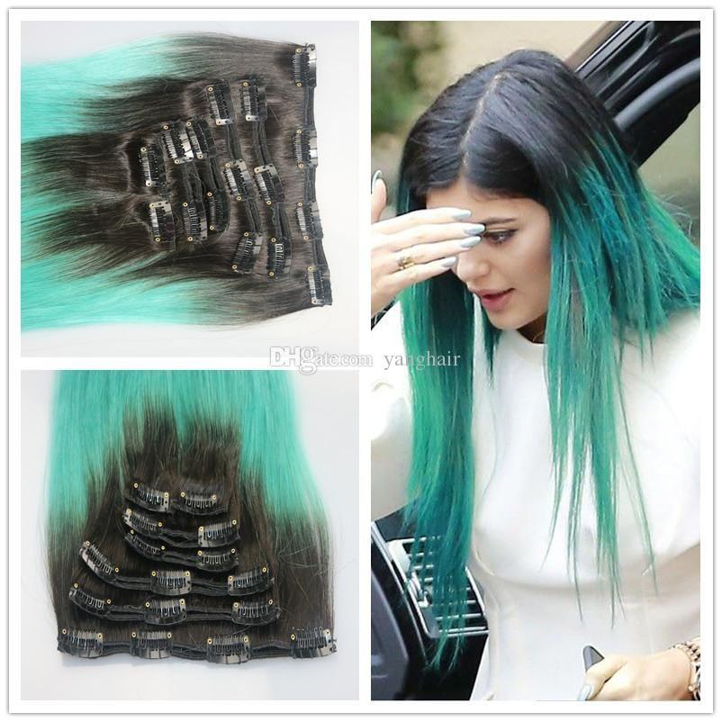 7a Ombre Green Clip In Human Hair Extension 1bgreen 100g Human Hair