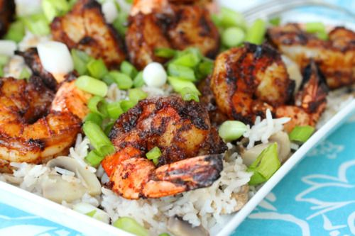 Yummy! Too good to be true?  Grilled shrimp with veggie rice!    Grilled Shrimp with Brown Butter and Rice