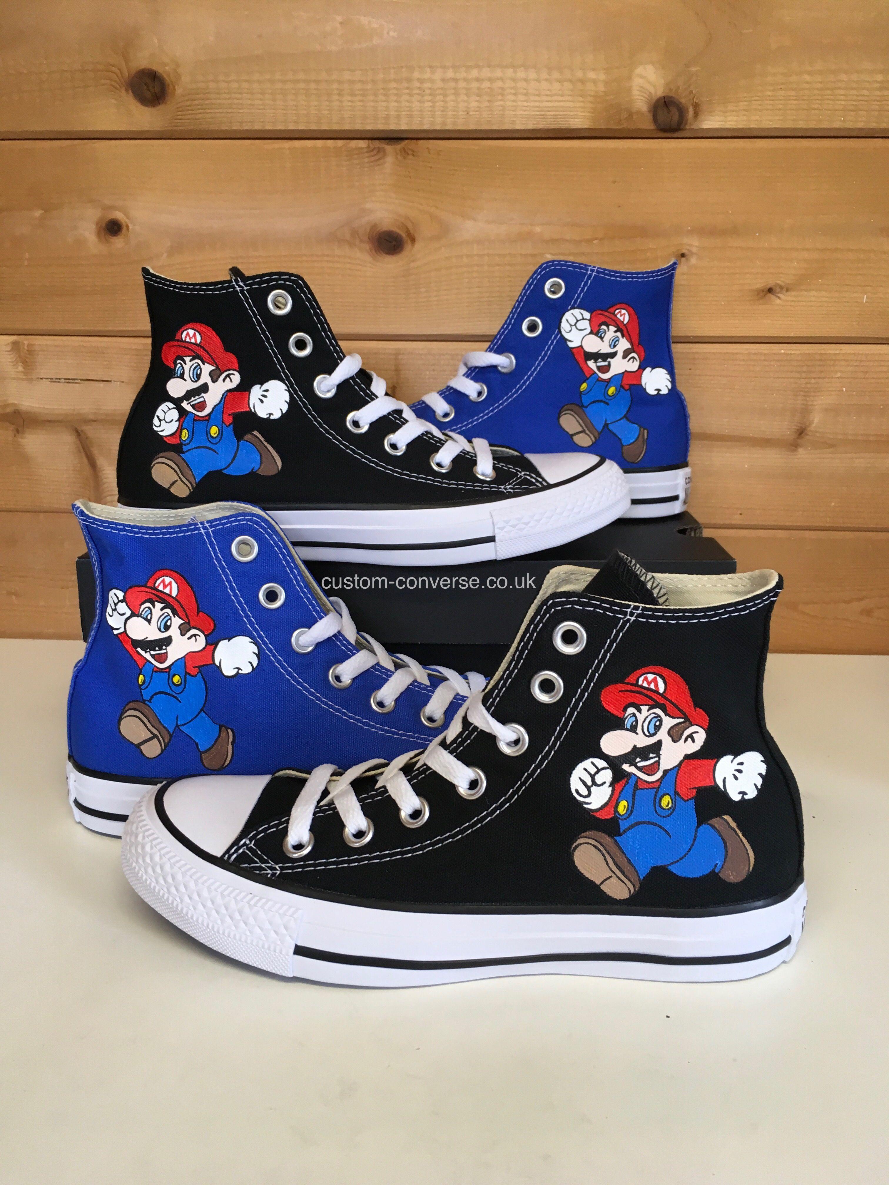 Super Mario High Top Converse  converse  mario  supermario  nintendo  luigi   chucks  kicks  allstars  custom  handpainted  personalized 890e25fc2