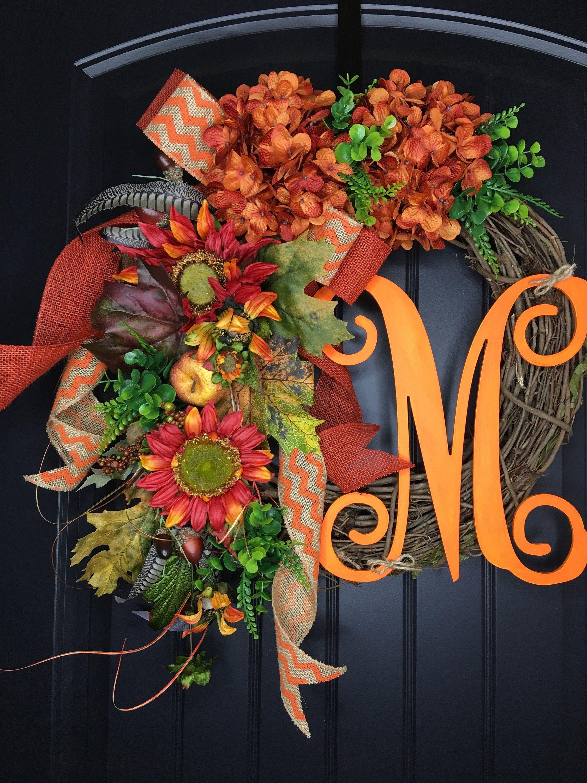 NEW - Hydrangea wreath - Fall wreath - Thanksgiving Wreath ...