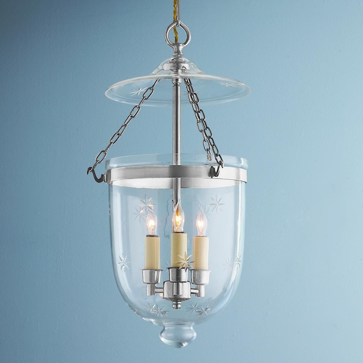 Engraved Star Glass Smokebell Lantern   Polished nickel, Glass and ...
