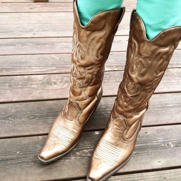 Gold CowGirl Boots by Groove | A dress, Love and Bees