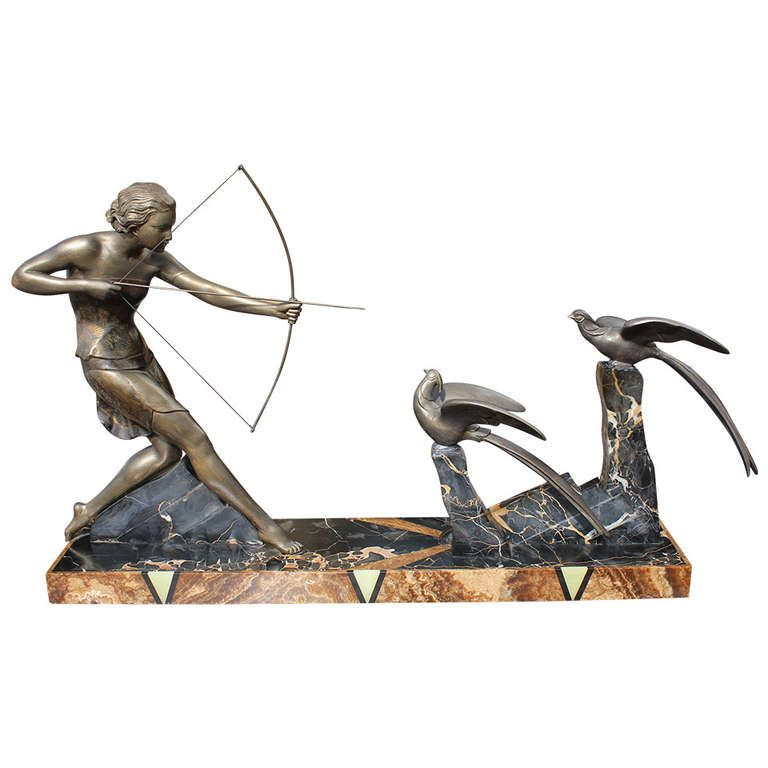French Art Deco Patinated Metal Sculpture of Diana the Huntress by Uriano | From a unique collection of antique and modern sculptures at http://www.1stdibs.com/furniture/more-furniture-collectibles/sculptures/