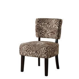 Linon Kenya Brown Zebra Accent Chair Printed Accent Chairs