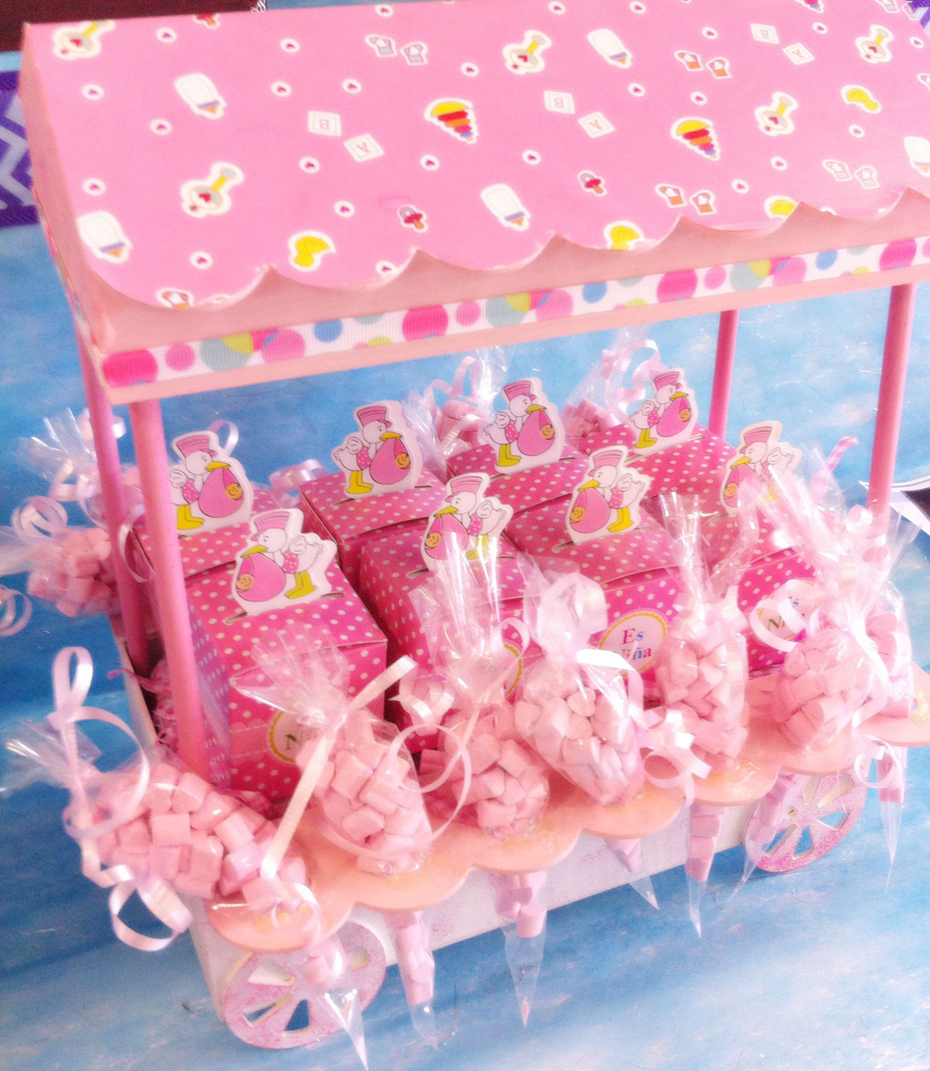 Despachador de dulces para Baby Shower Rosa