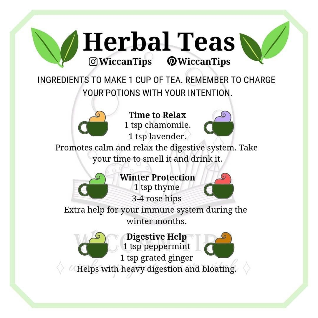 Herbal teas Herbal teas recipes for different situations Perfect for green witches and kitchen witches Herbal teas Herbal teas recipes for different situations Perfect fo...