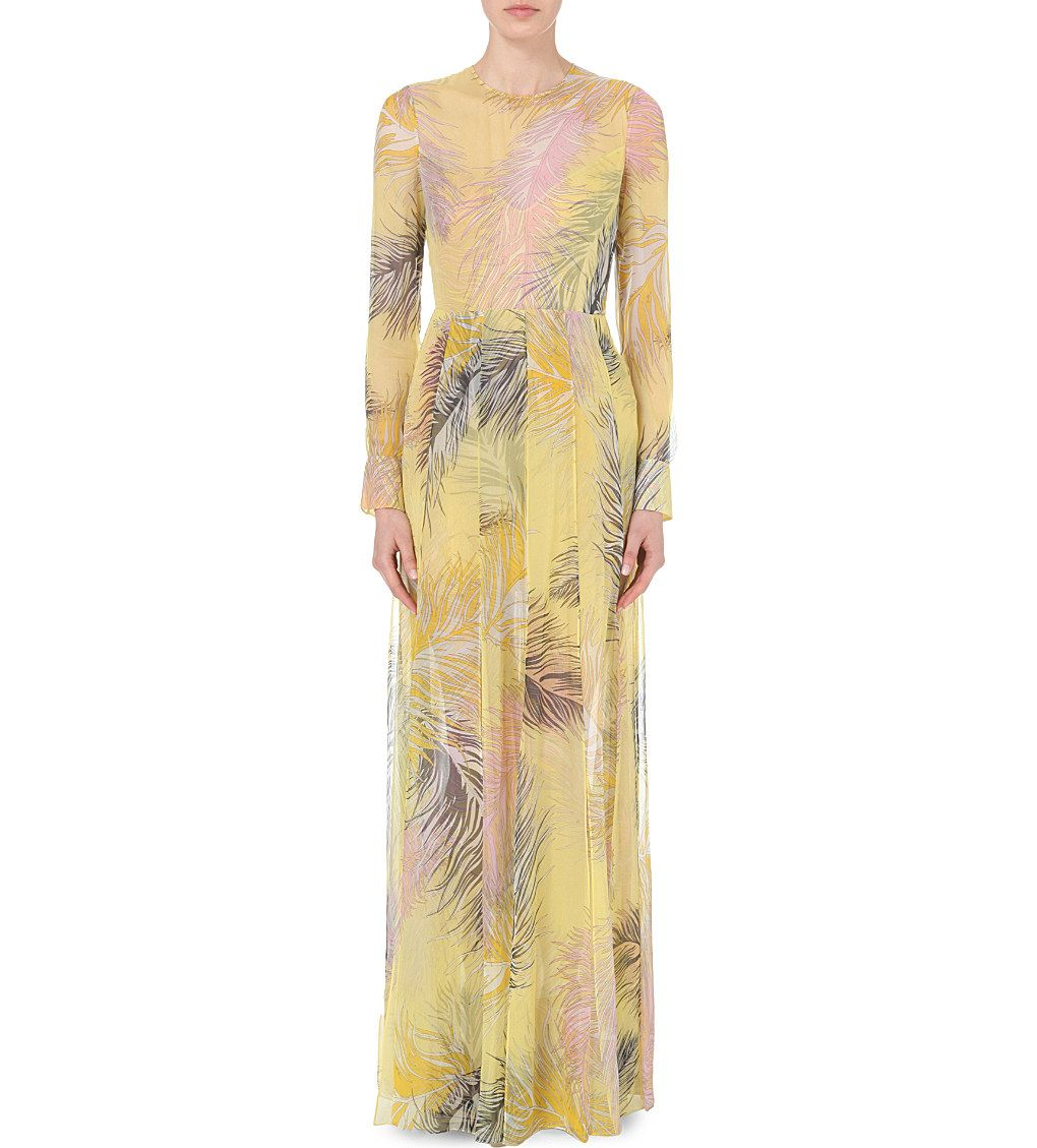 EMILIO PUCCI Feather-print silk-chiffon gown