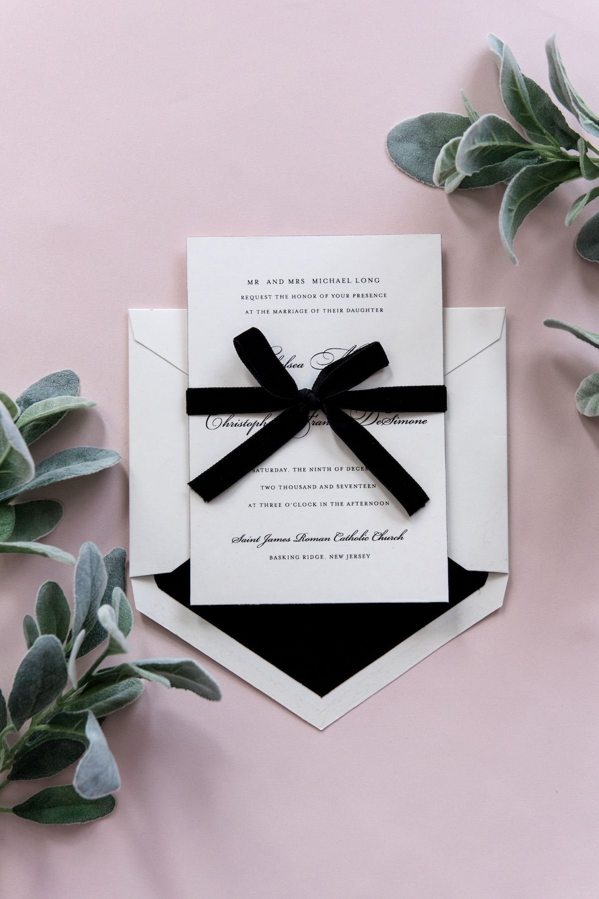 Simple black and white traditional wedding invitation with velvet ...