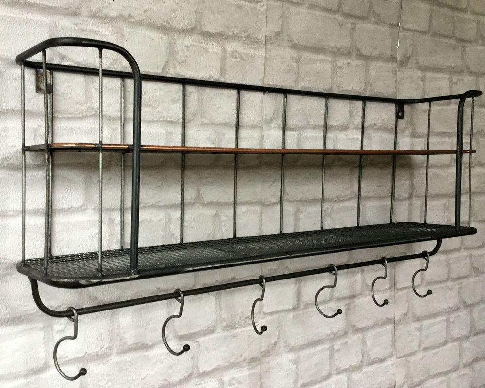 Vintage Industrial Style Metal Wall Shelf Unit Rack Coat Hooks Storage  Display