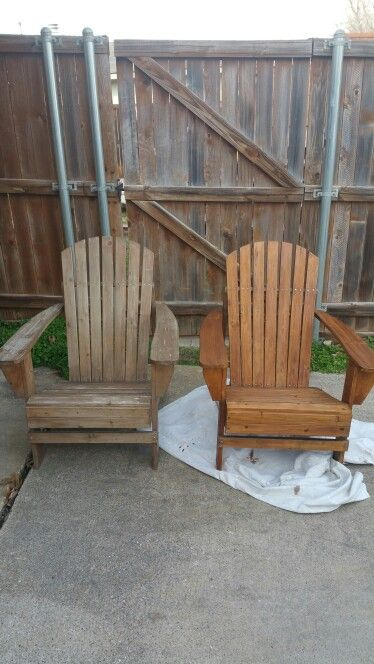Adirondack Chairs Stained Before And After My Creations