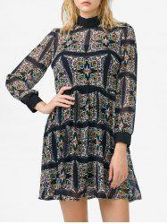 Mock Neck High Waist Printed Dress