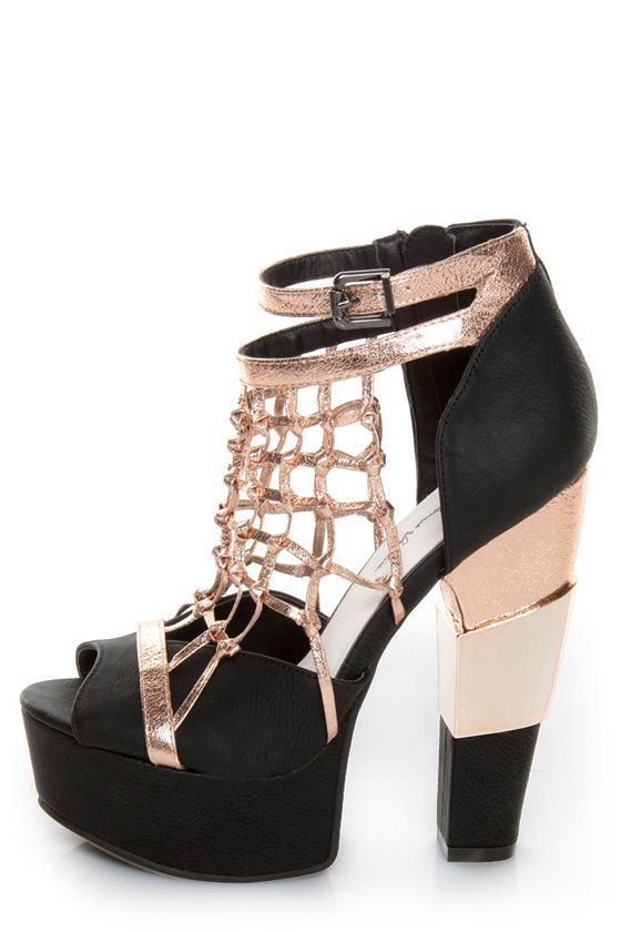 691f3a086 Michael Antonio Studio Townsend Black Metallic Cage Heels | Stepping ...