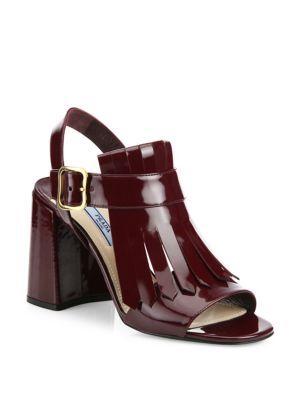 171dcaf4082 PRADA Leather Kilt Block-Heel Sandals | shoes Prada | Leather kilt ...
