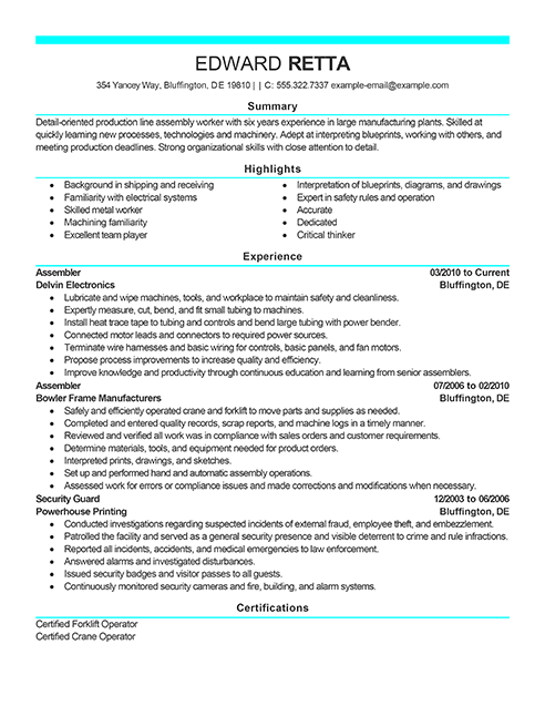 Example Resume Resume Examples Professional Resume Examples Cover Letter For Resume