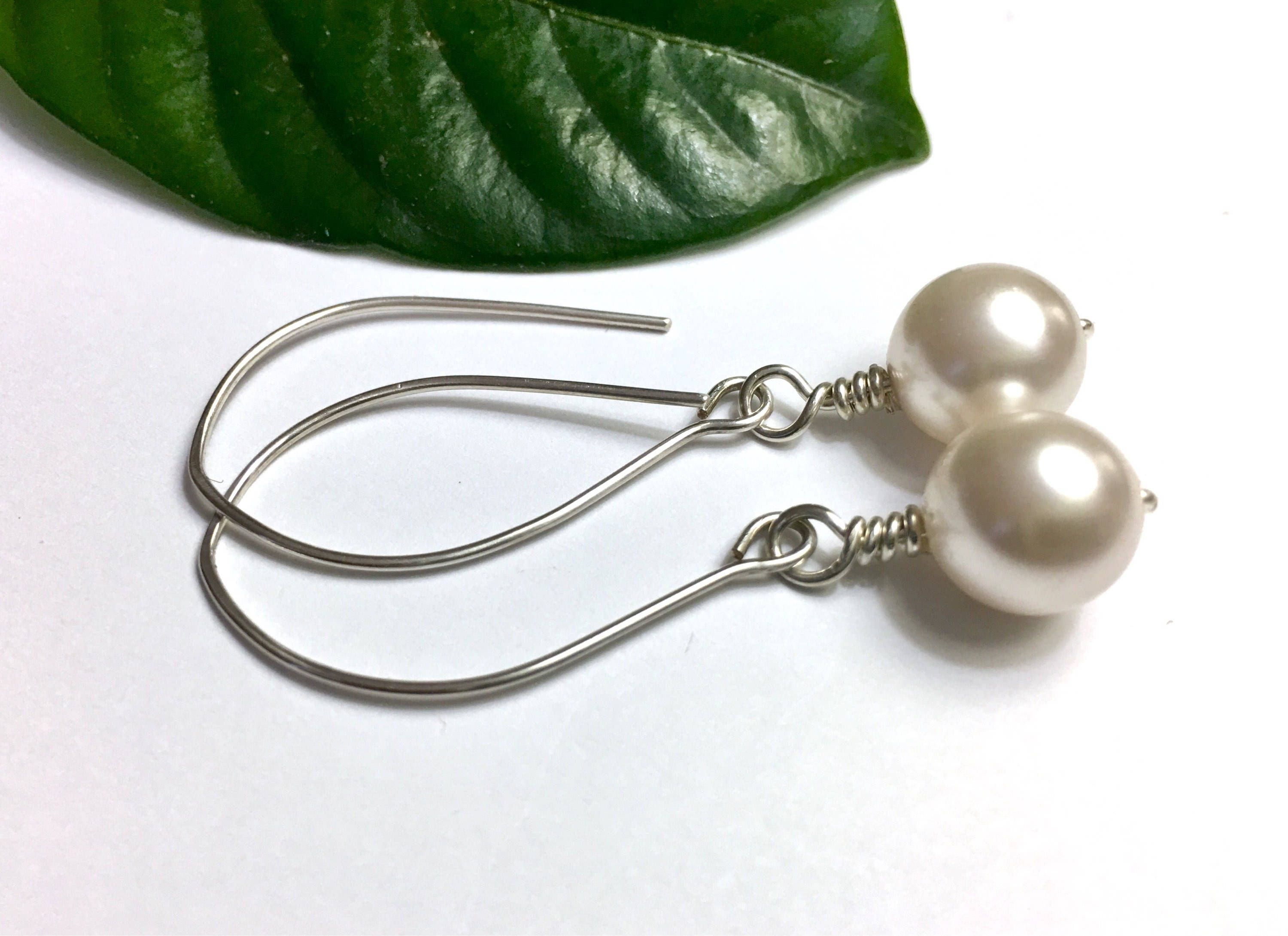 Modern pearl earrings easter gift for her long 925 silver earrings modern pearl earrings easter gift for her long 925 silver earrings large white pearl earrings girlfriend negle