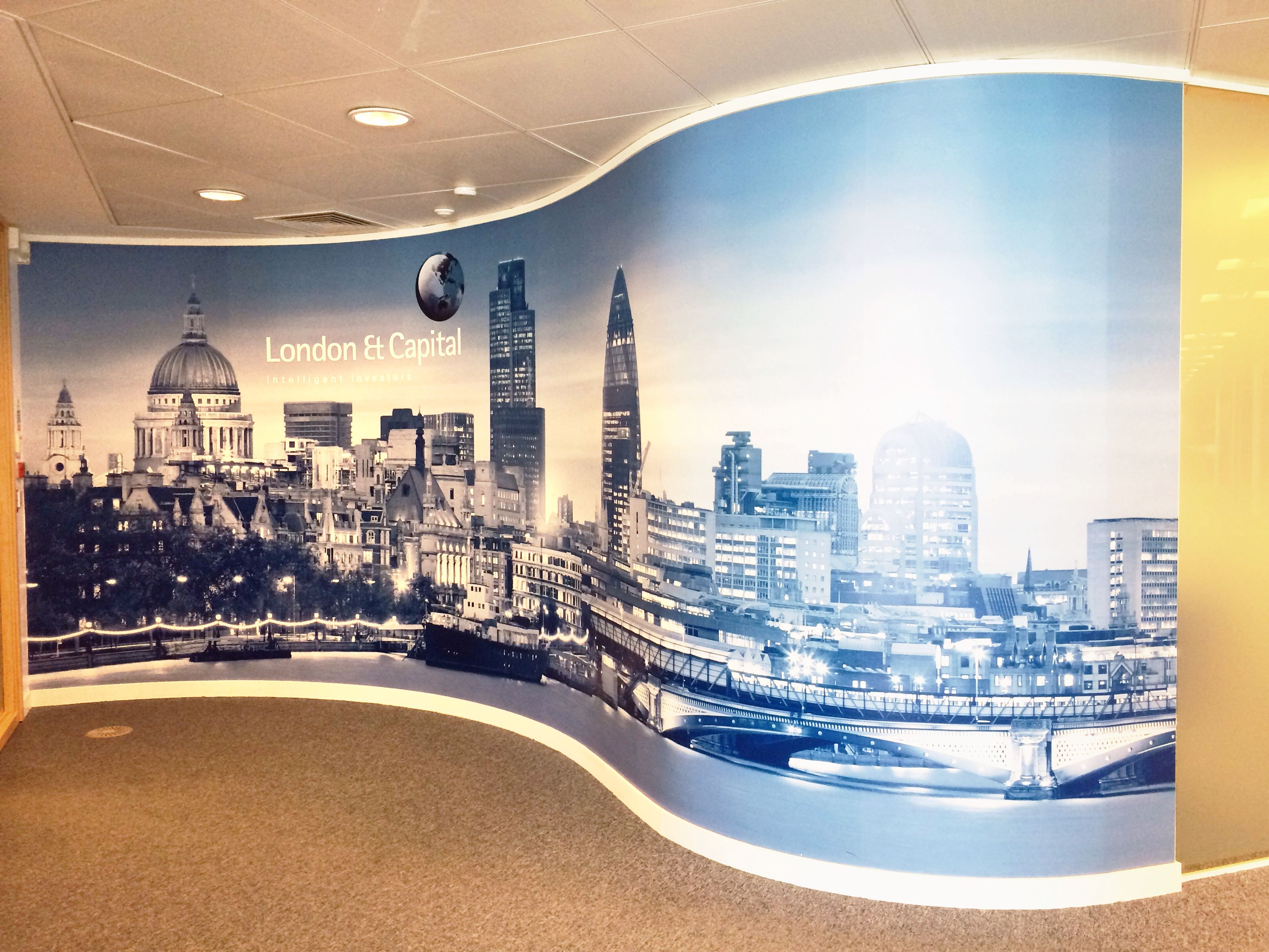 Curved Wall Graphic by vinyl Impression Office Wall Inspiration