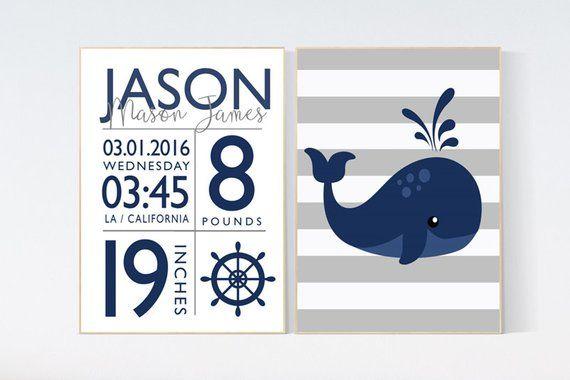 Photo of Nautical nursery prints, navy nursery decor, baby birth stats, Nautical decor, whale nursery decor, set of 2, name sign, Birth announcement