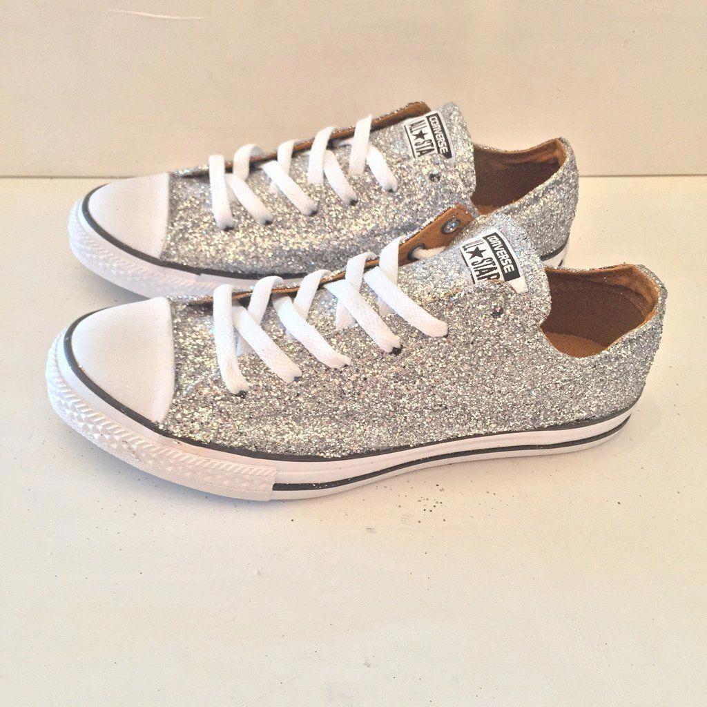 Women's Sparkly Silver Glitter Converse All Stars Chucks