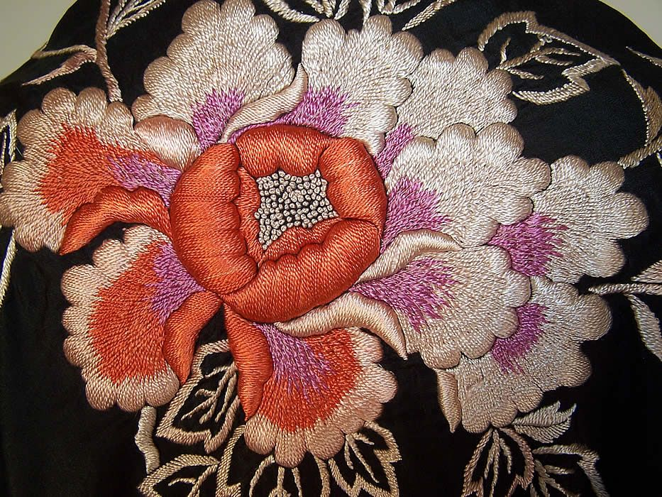 Antique Art Deco Black & Red Silk Roses Floral Embroidered Piano Shawl.