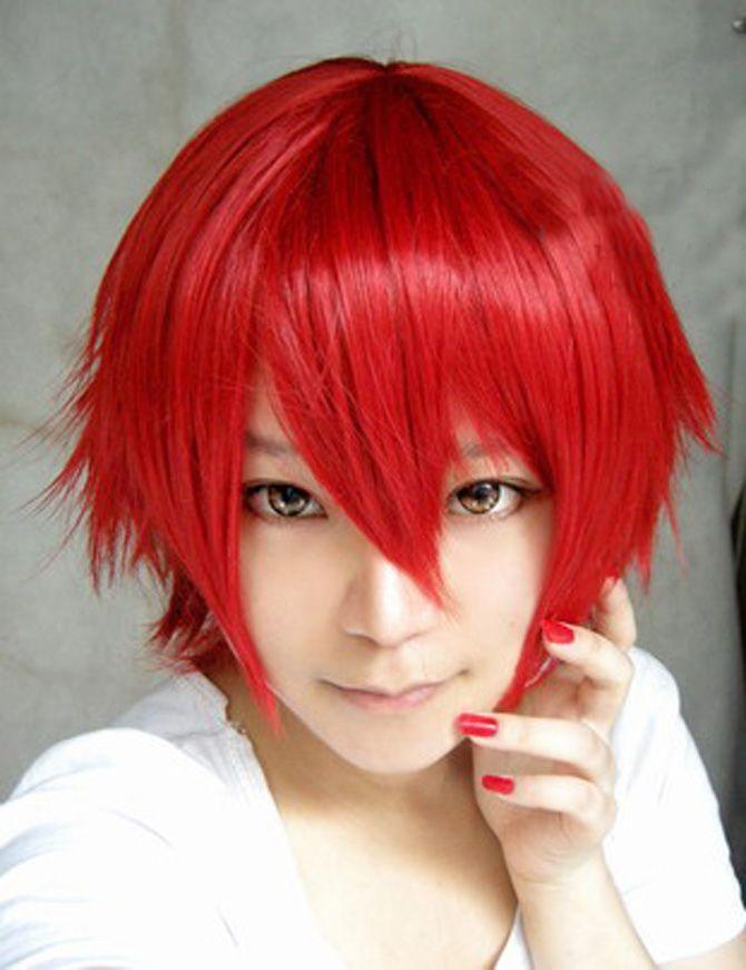 Fiery Red Short Hair Cosplay Wig Short Wigs Wigs Anime Wigs