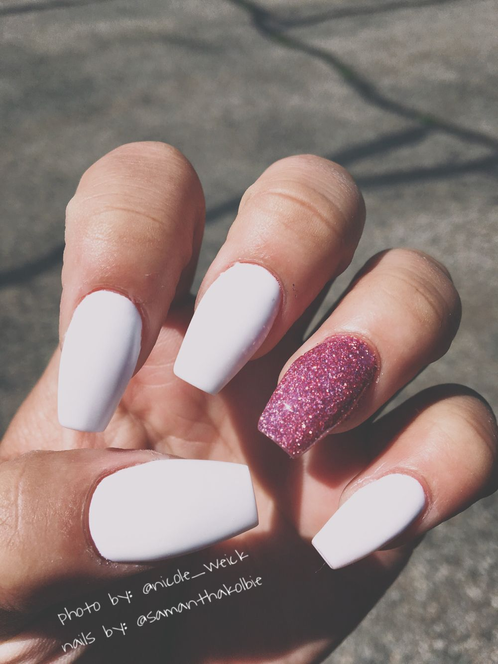 LOVE these Matte White Nails with Sparkly Pink Ballerina Shoe/Coffin ...
