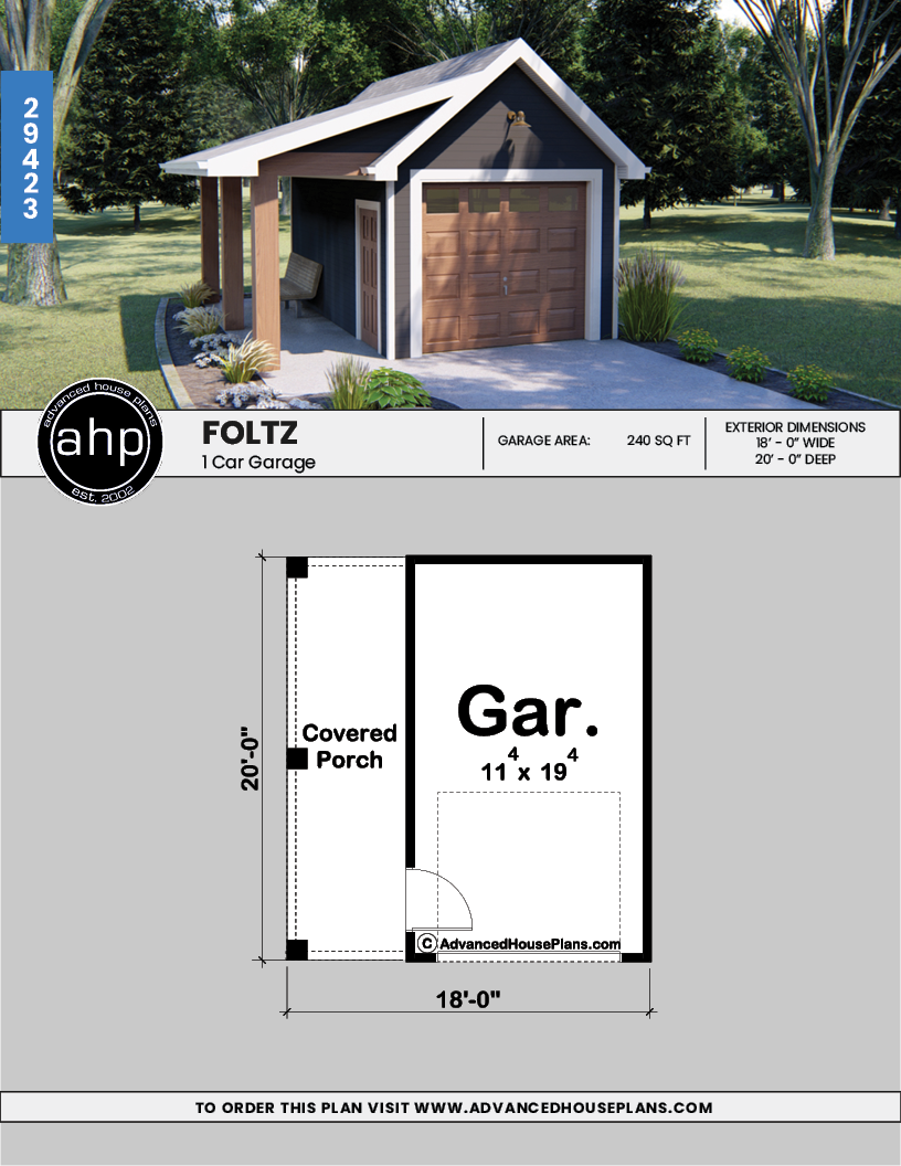 1 Car Garage Plan Foltz Diy Garage Plans Backyard Garage Garage Plans With Loft