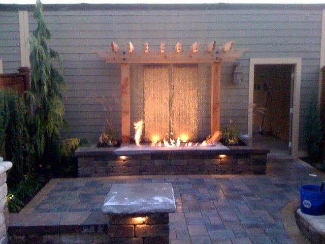 Water Feature With Fire Pits Backyard Water Feature Water