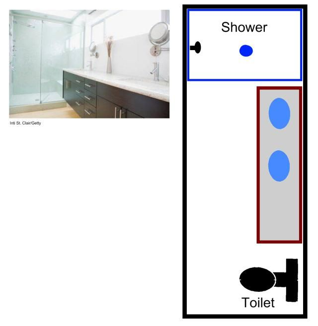Visual guide to 15 bathroom floor plans long narrow for Tiny bathroom layout