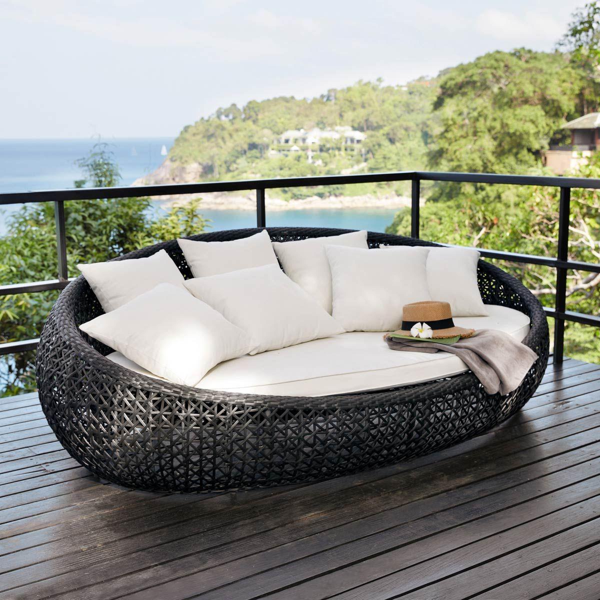 lounge insel geflochten schwarz durban wohnen einrichtungen rund ums haus pinterest. Black Bedroom Furniture Sets. Home Design Ideas