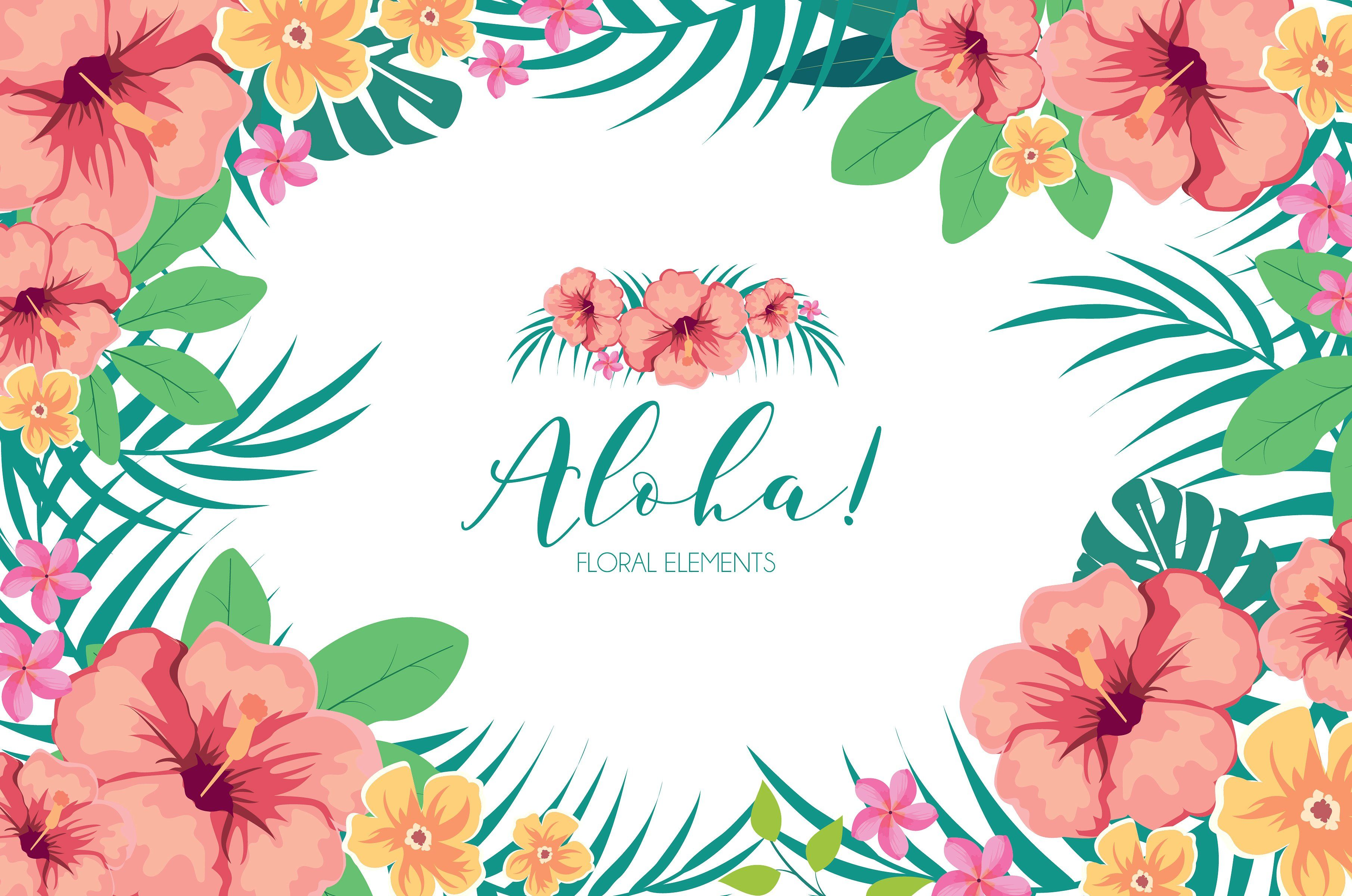 Tropical Hawaiian Flowers Clipart By Cutepaperstudio On Creativemarket