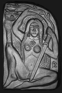 """Norse Goddess Mother of All Golden Freya Via Facebook Page of Miriam Grace: """"Relief is of the Norse Goddess Mother of All Golden Freya or perhaps more likely a Goddess of love and war."""""""