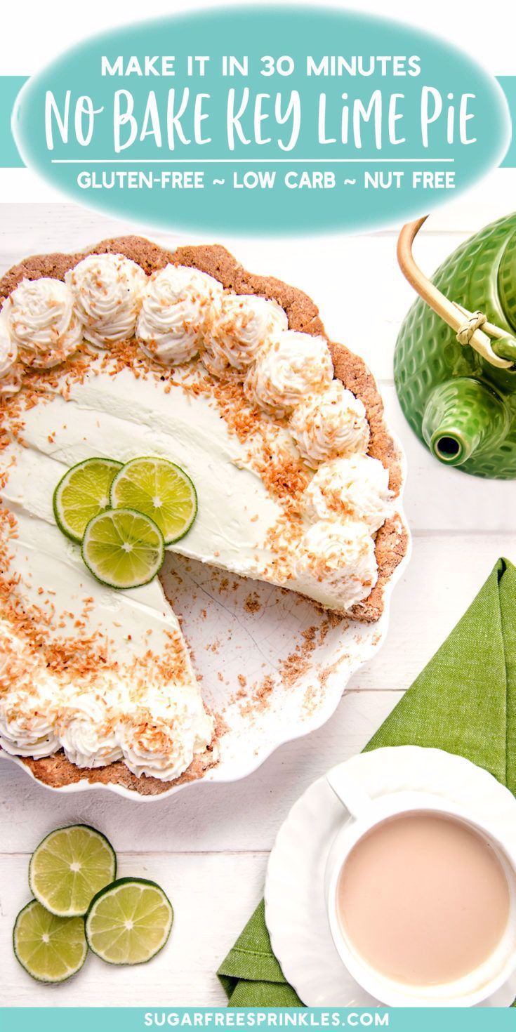 If you are on a keto or low carb diet, you have to try this delicious no-bake key lime pie recipe. This fantastic nut-free recipe is also gluten and sugar-free. The tangy and sweet flavors of this key lime pie make it the perfect dessert for your low carb diet. This fast and easy dessert can be made in about 30 minutes. Don't let your diet stand in the way of delicious desserts. Try making this great diet-friendly dessert today. #dessert #recipe #pie #sugarfree #glutenfree #easydessertrecipe