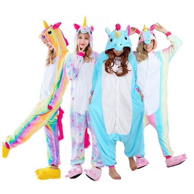2018 Новый Onesie Оптовая продажа животных stitch star Единорог Kigurumi  взрослых унисекс Для женщин пижамы с капюшоном пижамы для взрослых зима  fannel e62d52df5ee2a