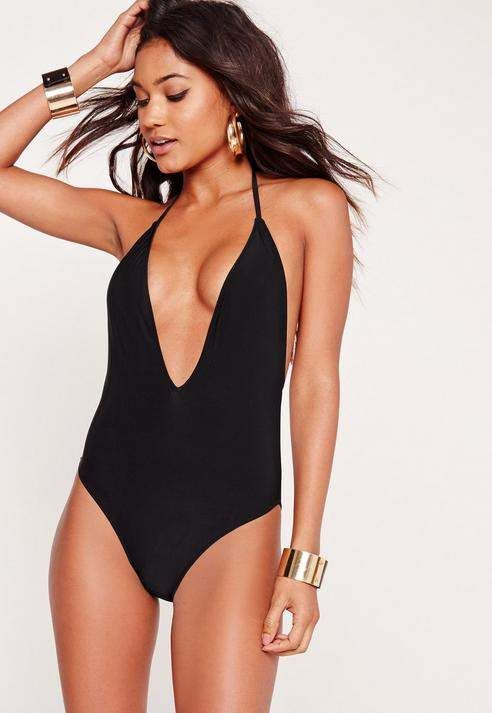 bc3243e8ac1 Missguided Black Skinny Strap Plunge Swimsuit | swimsuits in 2019 ...