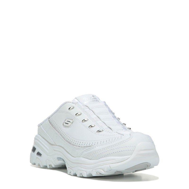 Men's SkechersWomen's D'Lites Bright Sky Memory Foam Wide Clog White/Silver