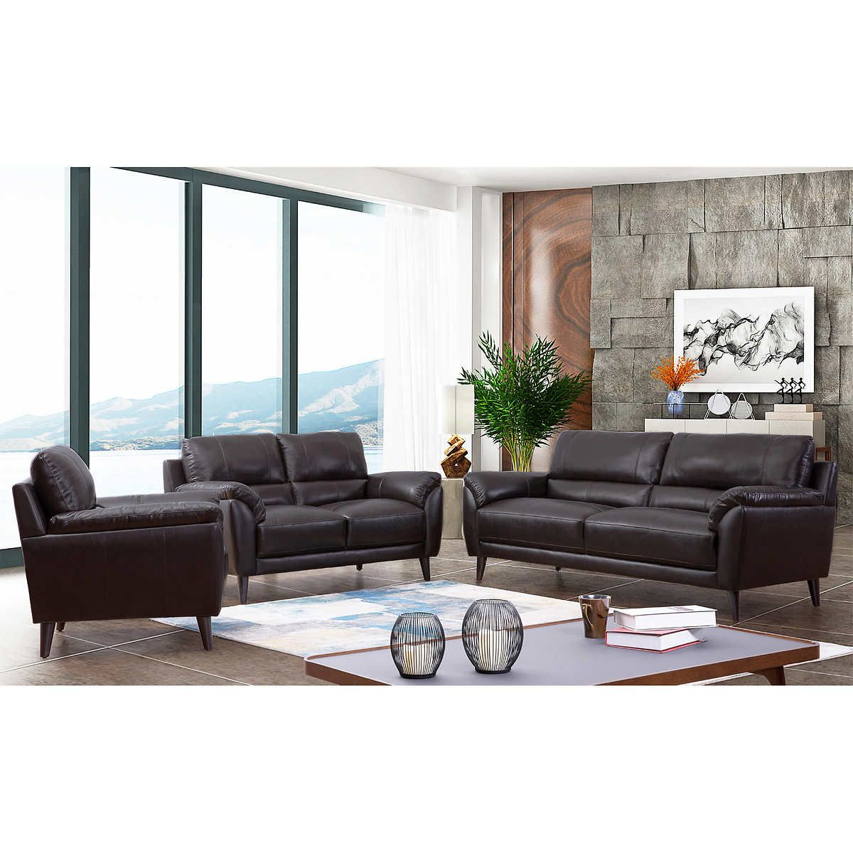 2293 Best Images About Leather Sofas And Living Room: Zamora 3-piece Leather Set In 2020