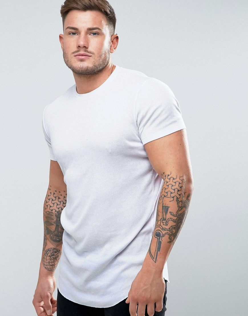 213071db ASOS Super Longline Muscle Rib T-Shirt With Curved Hem In White - Whit