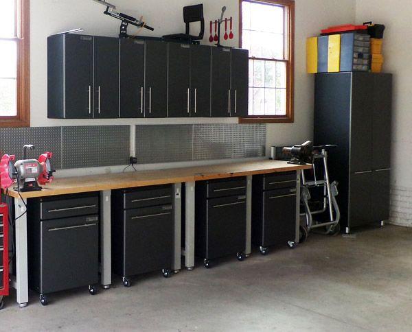 Nine piece mobile base garage storage cabinets car guy - Garage mobile per auto ...