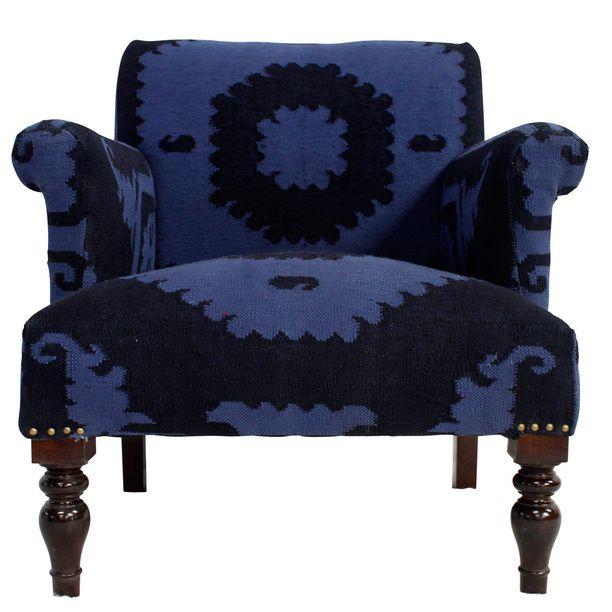 Suzani Overdyed Kilim Chair Blue Furniture, Blue, Rug