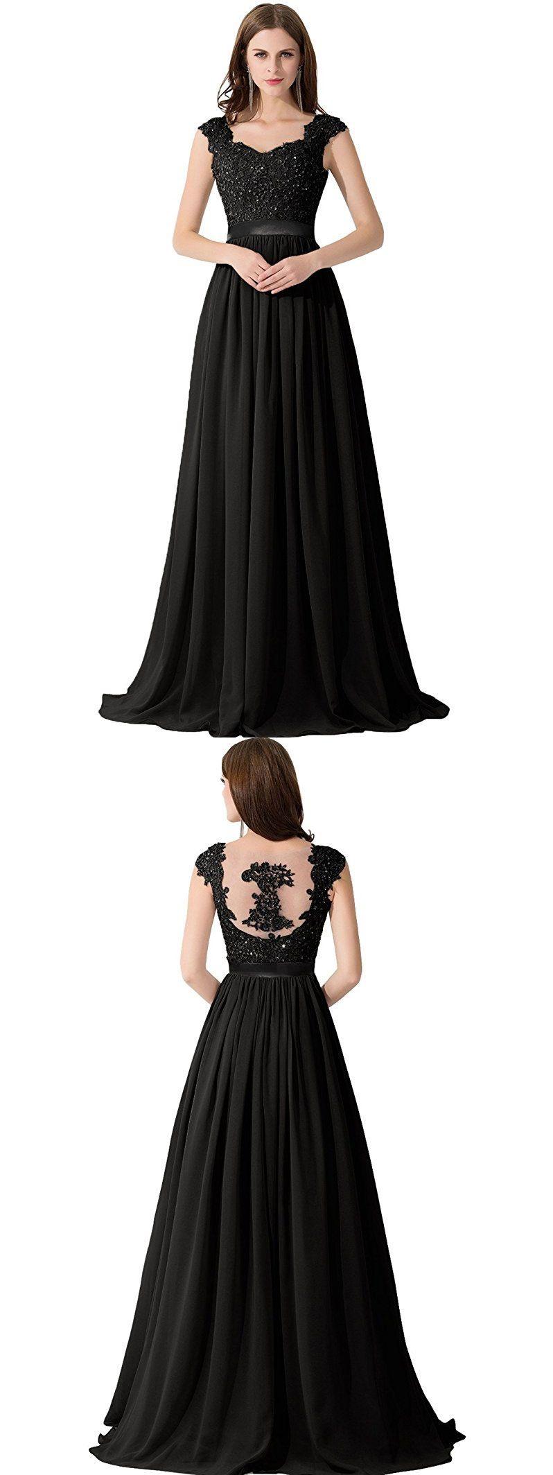 Aline sweetheart sweep train chiffon appliqued beaded black prom
