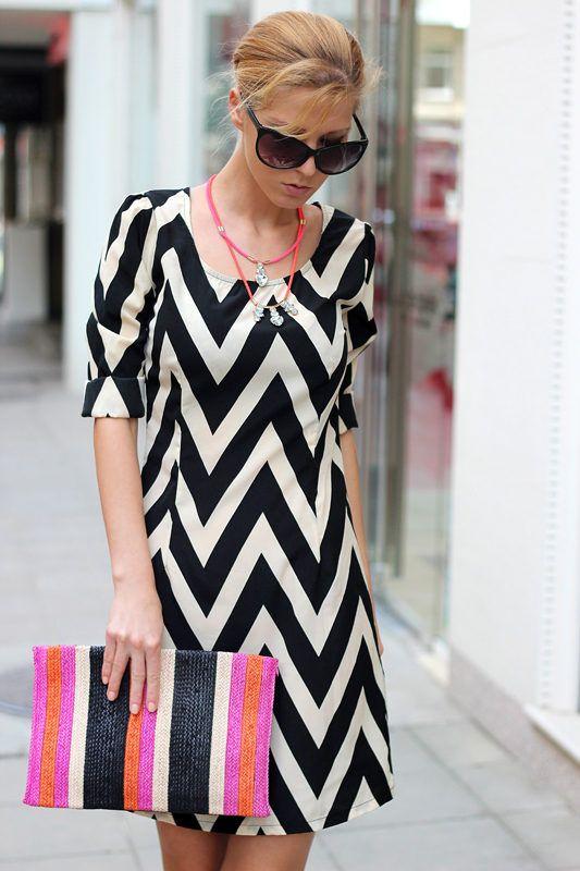 Chevrons, Stripes And Neon ( Sunglasses & Striped Dresses )