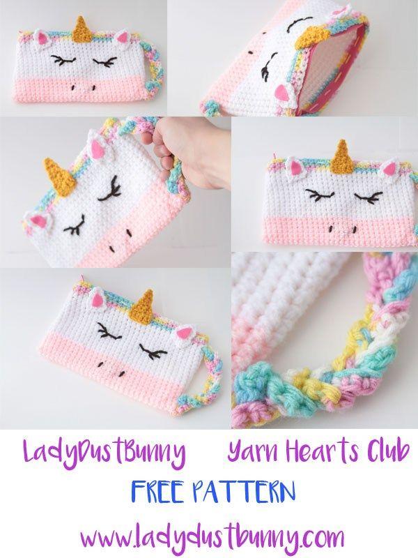 FREE Unicorn Pencil Case Pattern - LadyDustBunny   Crochet patterns ...