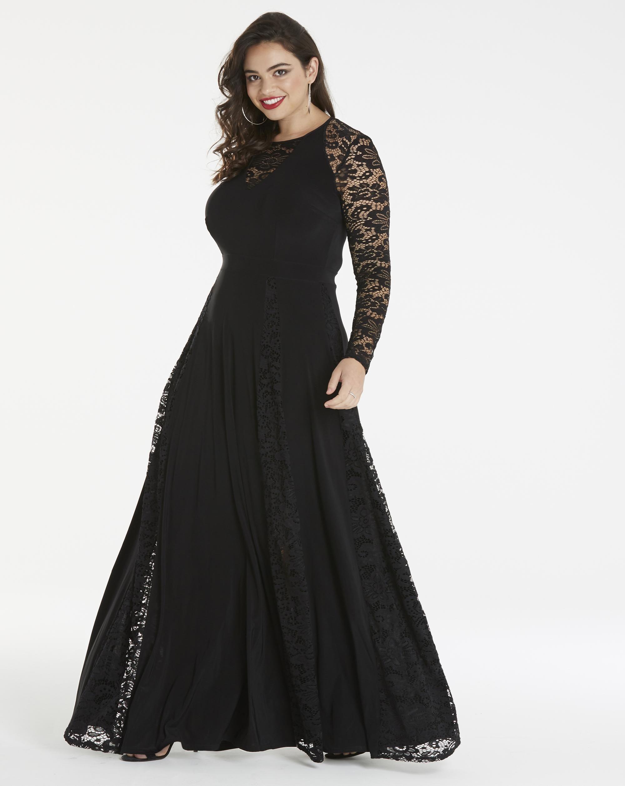 Plus Size lace insert maxi dress   Plus Size Evening Dresses ...