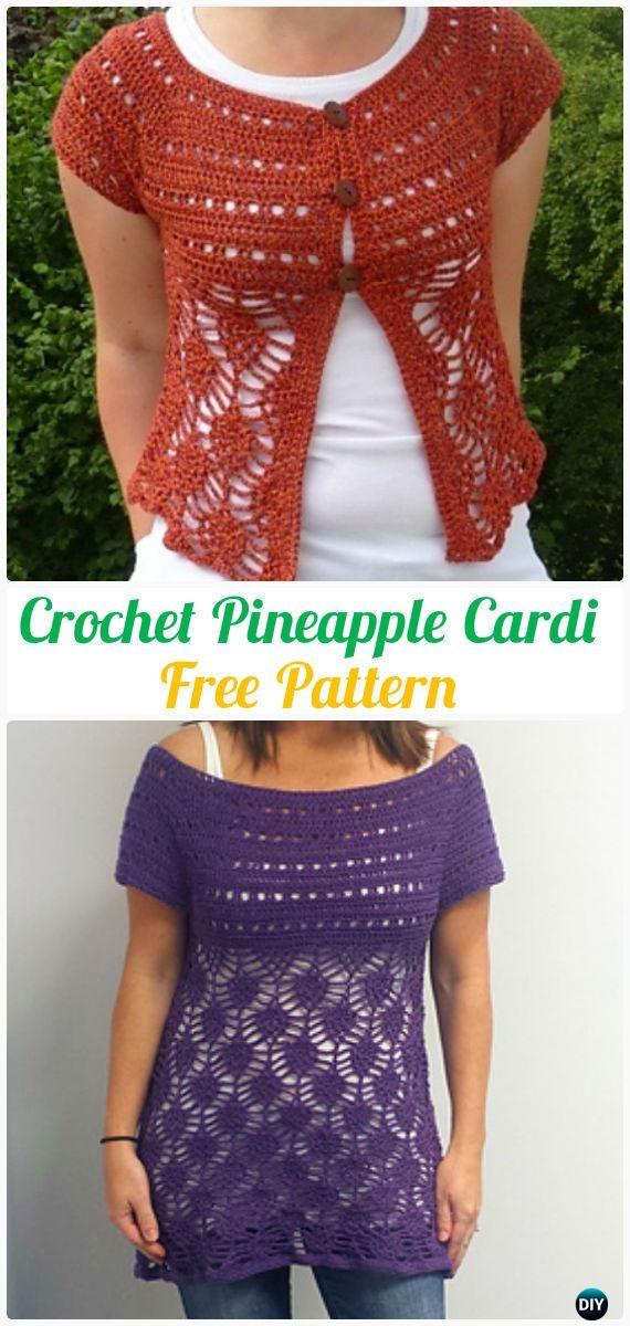 CrochetPineapple Cardigan Pattern - #Crochet Women Sweater Coat-Cardigan Free Patterns