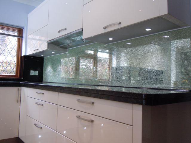 Cracked Iced Glass Splashbacks Glass Splashback Interior Deco
