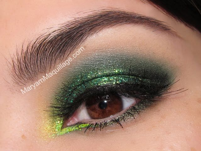 "! Maryam Maquillage !: ""Glitter Clovers"" Smokey Eyes. Lime Crime palettes : Alchemy, China Doll, Aquataenia : the greens"