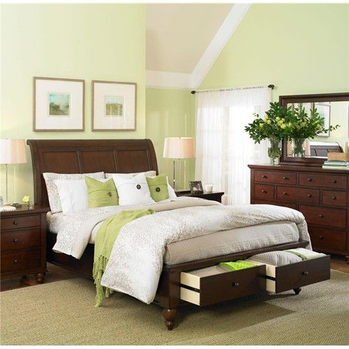 Cambridge King Size Bed With Sleigh Headboard Amp Drawer Storage Footboard By Aspenhome Light