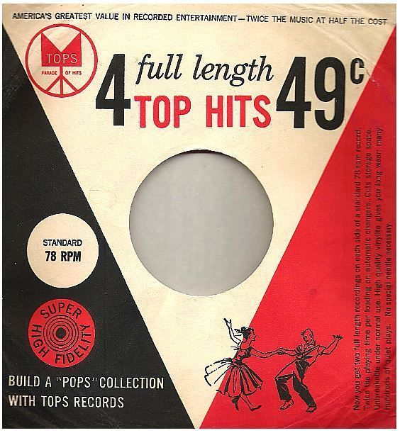 Tops 4 Full Length Top Hits Record Company Sleeve For 10 Inch Ep White Red Portadas