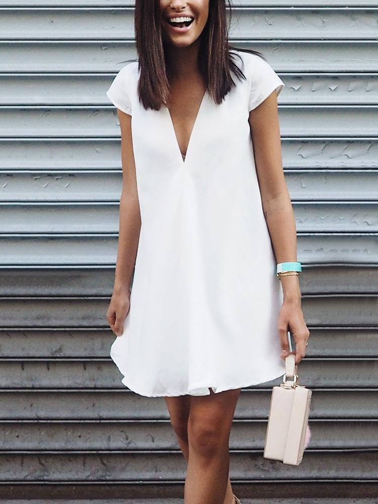 Elegant V Neck Short Sleeve Pure Colour Dress
